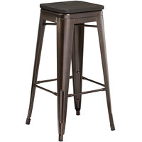 Lancaster Table & Seating Alloy Series Copper Metal Indoor Industrial Cafe Bar Height Stool with Black Wood Seat
