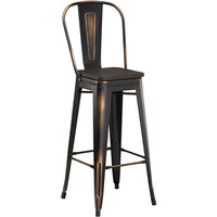Lancaster Table & Seating Alloy Series Distressed Copper Metal Indoor Industrial Cafe Bar Height Stool with Vertical Slat Back and Black Wood Seat