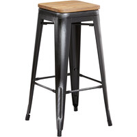 Lancaster Table & Seating Alloy Series Distressed Black Metal Indoor Industrial Cafe Bar Height Stool with Natural Wood Seat