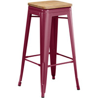 Lancaster Table & Seating Alloy Series Sangria Metal Indoor Industrial Cafe Bar Height Stool with Natural Wood Seat