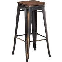 Lancaster Table & Seating Alloy Series Distressed Copper Metal Indoor Industrial Cafe Bar Height Stool with Walnut Wood Seat