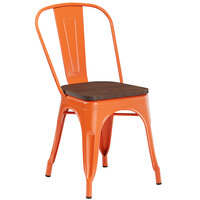 Lancaster Table & Seating Alloy Series Orange Metal Indoor Industrial Cafe Chair with Vertical Slat Back and Walnut Wood Seat