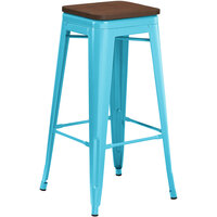 Lancaster Table & Seating Alloy Series Arctic Blue Metal Indoor Industrial Cafe Bar Height Stool with Walnut Wood Seat