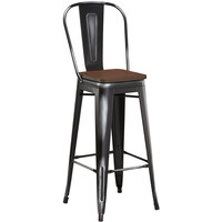 Lancaster Table & Seating Alloy Series Distressed Black Metal Indoor Industrial Cafe Bar Height Stool with Vertical Slat Back and Walnut Wood Seat