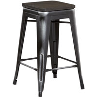 Lancaster Table & Seating Alloy Series Distressed Black Metal Indoor Industrial Cafe Counter Height Stool with Black Wood Seat