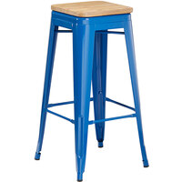 Lancaster Table & Seating Alloy Series Blue Metal Indoor Industrial Cafe Bar Height Stool with Natural Wood Seat