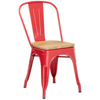 Lancaster Table & Seating Alloy Series Red Metal Indoor Industrial Cafe Chair with Vertical Slat Back and Natural Wood Seat