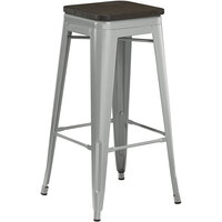 Lancaster Table & Seating Alloy Series Silver Metal Indoor Industrial Cafe Bar Height Stool with Black Wood Seat