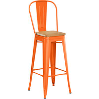 Lancaster Table & Seating Alloy Series Orange Metal Indoor Industrial Cafe Bar Height Stool with Vertical Slat Back and Natural Wood Seat