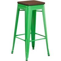 Lancaster Table & Seating Alloy Series Green Metal Indoor Industrial Cafe Bar Height Stool with Walnut Wood Seat