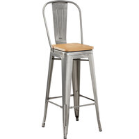 Lancaster Table & Seating Alloy Series Clear Coated Metal Indoor Industrial Cafe Bar Height Stool with Vertical Slat Back and Natural Wood Seat
