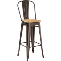 Lancaster Table & Seating Alloy Series Copper Metal Indoor Industrial Cafe Bar Height Stool with Vertical Slat Back and Natural Wood Seat