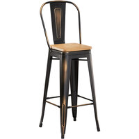 Lancaster Table & Seating Alloy Series Distressed Copper Metal Indoor Industrial Cafe Bar Height Stool with Vertical Slat Back and Natural Wood Seat
