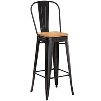 Lancaster Table & Seating Alloy Series Black Metal Indoor Industrial Cafe Bar Height Stool with Vertical Slat Back and Natural Wood Seat