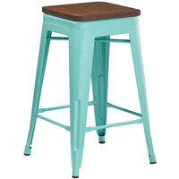 Lancaster Table & Seating Alloy Series Seafoam Metal Indoor Industrial Cafe Counter Height Stool with Walnut Wood Seat