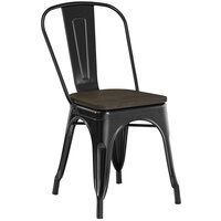Lancaster Table & Seating Alloy Series Black Metal Indoor Industrial Cafe Chair with Vertical Slat Back and Black Wood Seat