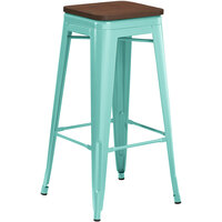 Lancaster Table & Seating Alloy Series Seafoam Metal Indoor Industrial Cafe Bar Height Stool with Walnut Wood Seat