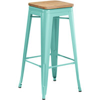 Lancaster Table & Seating Alloy Series Seafoam Metal Indoor Industrial Cafe Bar Height Stool with Natural Wood Seat