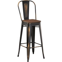 Lancaster Table & Seating Alloy Series Distressed Copper Metal Indoor Industrial Cafe Bar Height Stool with Vertical Slat Back and Walnut Wood Seat