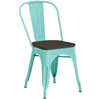 Lancaster Table & Seating Alloy Series Seafoam Metal Indoor Industrial Cafe Chair with Vertical Slat Back and Black Wood Seat