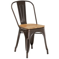 Lancaster Table & Seating Alloy Series Copper Metal Indoor Industrial Cafe Chair with Vertical Slat Back and Natural Wood Seat