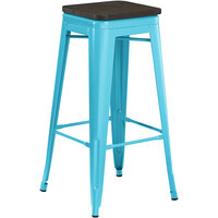 Lancaster Table & Seating Alloy Series Arctic Blue Metal Indoor Industrial Cafe Bar Height Stool with Black Wood Seat