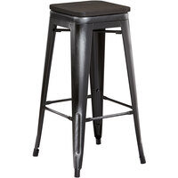 Lancaster Table & Seating Alloy Series Distressed Black Metal Indoor Industrial Cafe Bar Height Stool with Black Wood Seat