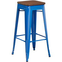 Lancaster Table & Seating Alloy Series Blue Metal Indoor Industrial Cafe Bar Height Stool with Walnut Wood Seat