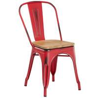 Lancaster Table & Seating Alloy Series Distressed Red Metal Indoor Industrial Cafe Chair with Vertical Slat Back and Natural Wood Seat