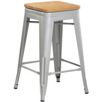Lancaster Table & Seating Alloy Series Silver Metal Indoor Industrial Cafe Counter Height Stool with Natural Wood Seat