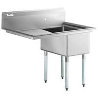 Regency 44 inch 16 Gauge Stainless Steel One Compartment Commercial Sink with Galvanized Steel Legs and 1 Drainboard - 17 inch x 23 inch x 12 inch Bowl