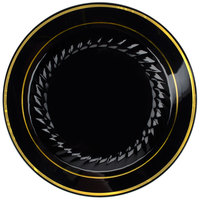 Fineline Silver Splendor 507-BKG 7 inch Black Plastic Plate with Gold Bands - 150/Case