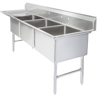 Regency 102 1/2 inch 16-Gauge Stainless Steel Three Compartment Commercial Sink with 1 Drainboard - 24 inch x 24 inch x 14 inch Bowls