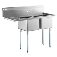 Regency 57 inch 16 Gauge Stainless Steel Two Compartment Commercial Sink with Galvanized Steel Legs and 1 Drainboard - 17 inch x 17 inch x 12 inch Bowls