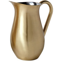 American Metalcraft BWPG84 Gold Satin Finish Stainless Steel 84 oz. Bell Pitcher with Ice Guard