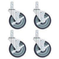 Regency 5 inch Polyurethane Swivel Stem Casters With Brakes for Sheet Pan Racks   - 4/Pack