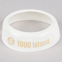 Tablecraft CB18 Imprinted White Plastic Fat Free 1000 Island Salad Dressing Dispenser Collar with Beige Lettering