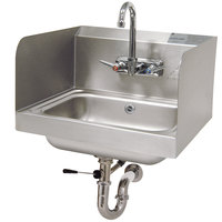 Advance Tabco 7-PS-40 Hand Sink with Side Splash Guards and Lever Operated Drain - 17 1/4 inch x 15 1/4 inch