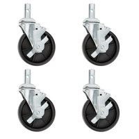 Regency 5 inch Polypropylene Swivel Stem Casters With Brakes for Sheet Pan Racks - 4/Pack