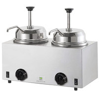 Server Twin FSP 81230 3 Qt. Round Topping Warmer with 2 Pumps -120V, 1000W