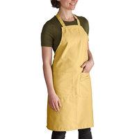 Intedge Gold Adjustable Poly-Cotton Bib Apron with 2 Pockets - 32 inchL x 28 inchW