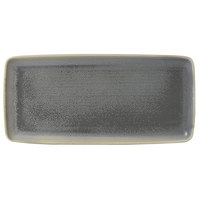 Dudson EG356 Evo 14 inch x 6 1/2 inch Matte Granite Rectangular Stoneware Platter by Arc Cardinal - 8/Case