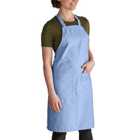 Intedge Light Blue Adjustable Poly-Cotton Bib Apron with 2 Pockets - 32 inchL x 28 inchW