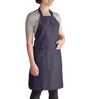 Intedge Navy Blue Adjustable Poly-Cotton Bib Apron with 2 Pockets - 32 inchL x 28 inchW
