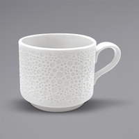 Sant'Andrea R4920000531 Francia 9 oz. Bright White Embossed Porcelain Stackable Cup by Oneida   - 24/Case