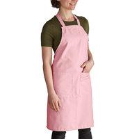 Intedge Light Pink Adjustable Poly-Cotton Bib Apron with 2 Pockets - 32 inchL x 28 inchW