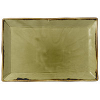 Dudson HG002 Harvest 13 1/4 inch x 9 inch Green Rectangular China Platter by Arc Cardinal - 6/Case