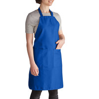 Intedge Royal Blue Adjustable Poly-Cotton Bib Apron with 2 Pockets - 32 inchL x 28 inchW