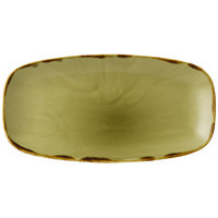 Dudson HG355 Harvest 13 7/8 inch x 7 3/8 inch Green Oval China Plate by Arc Cardinal - 6/Case