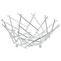 American Metalcraft FRUC10 Round Chrome Thatch Basket - 8 inch x 3 5/8 inch